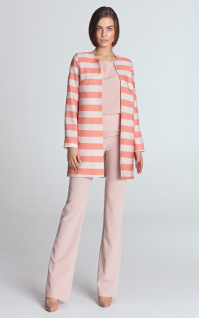 Long jacket without a collar - orange/stripes