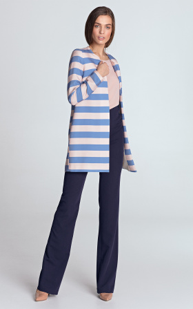 Long jacket without a collar - violet/stripes