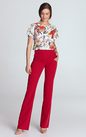 High-waisted pants - red