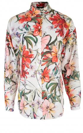 Koszula oversize- kwiaty/ecru