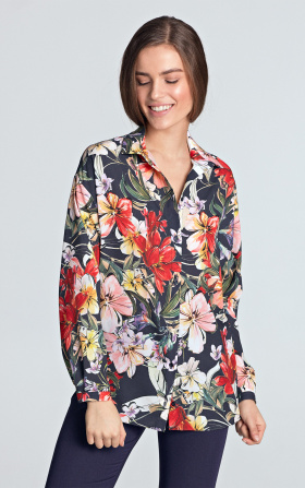 Oversize shirt - flowers/navy blue