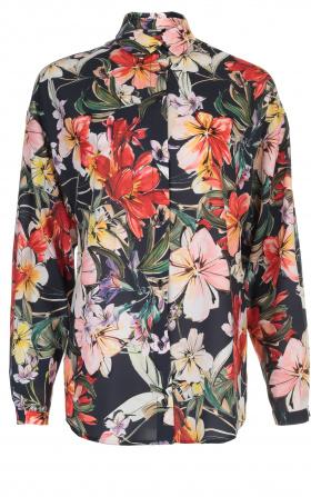 Koszula oversize - kwiaty/granat