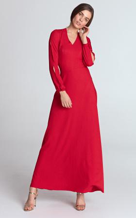 Czerwona sukienka maxi z wycięciami na rękawach