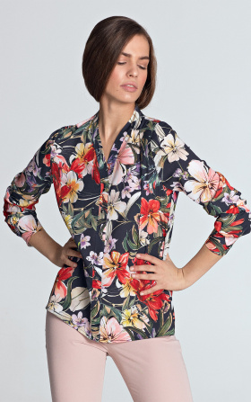 Blouse with gold naps - flowers/navy blue
