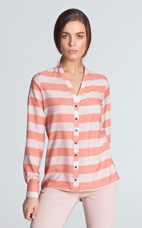 Blouse with gold naps - orange/stripes