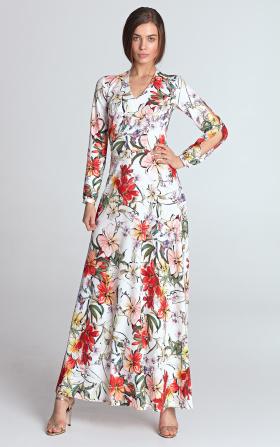 Sukienka maxi z wycięciami na rękawach - kwiaty/ecru