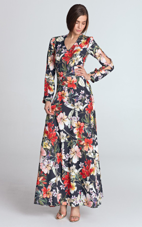 Granatowa sukienka maxi z wycięciami na rękawach w kwiaty