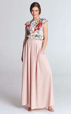 Maxi skirt with pleats - pink