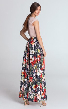 Maxi skirt with pleats - flowers/navy blue