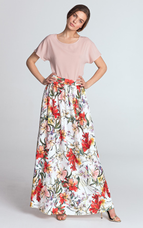 Maxi skirt with pleats - flowers/ecru