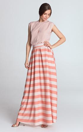 Maxi skirt with pleats - orange/stripes