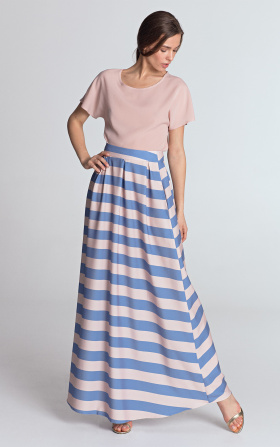 Maxi skirt with pleats - violet/stripes