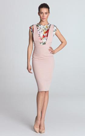 Jasnoróżowa sukienka ołówkowa z szelkami