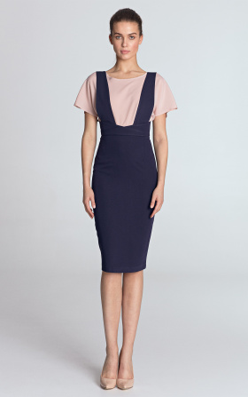 Pencil dress with suspenders - violet