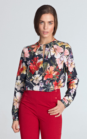 Blouse with a crack on the neckline - flowers/navy blue
