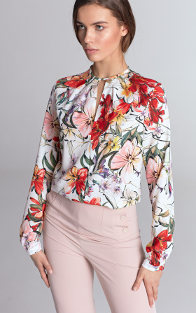 Blouse with a crack on the neckline - flowers/ecru
