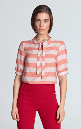 Blouse with binding - orange/stripes