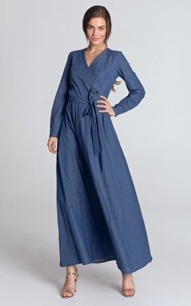 Jeansowa sukienka maxi z kopertowym dekoltem