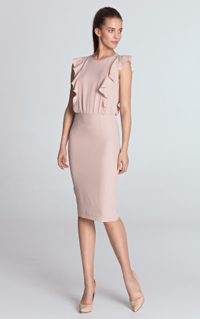 Pencil dress with vertical ruffles - pink