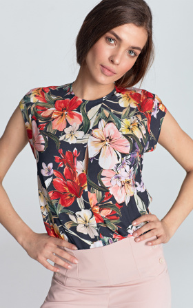 Sleeveless blouse with a subtle crack - flowers/navy blue