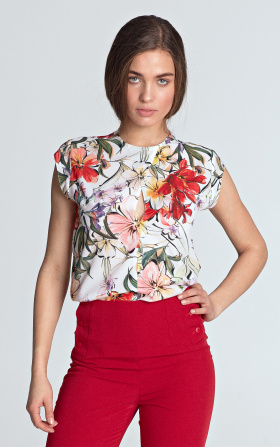 Sleeveless blouse with a subtle crack - flowers/ecru