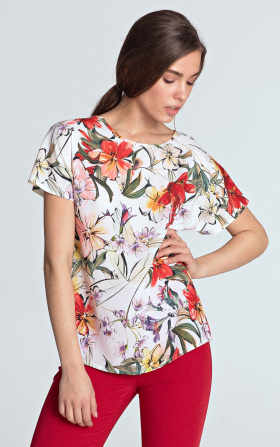 Blouse with a neckline in the boat shape - flowers/ecru
