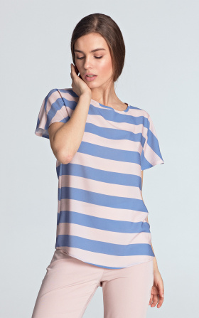 Blouse with a neckline in a boat shape - violet/stripes