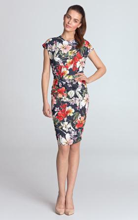 Sukienka ołówkowa - kwiaty/granat