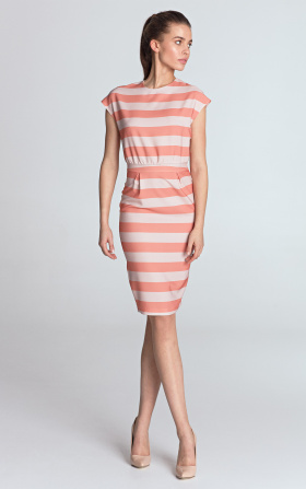 Sukienka ołówkowa - pomarańcz/paski