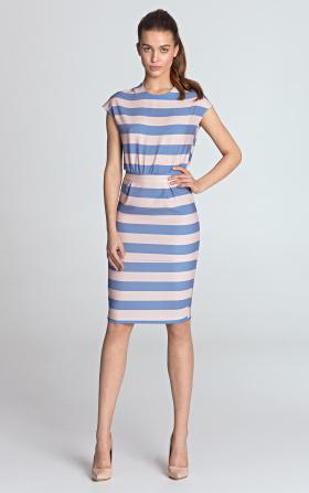 Sukienka ołówkowa - fiolet/paski
