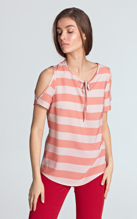 Blouse with cutouts on the shoulders - orange/stripes