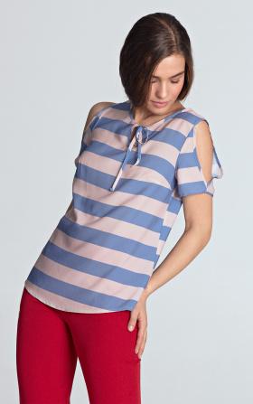 Bluzka w fioletowe paski z wycięciami na ramionach