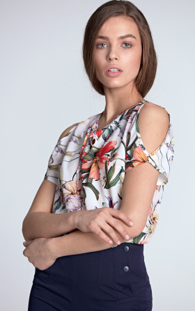 Blouse with cutouts on the shoulders - flowers/ecru