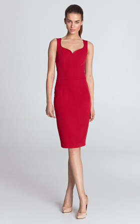 Dress with a neckline in the shape of heart - red
