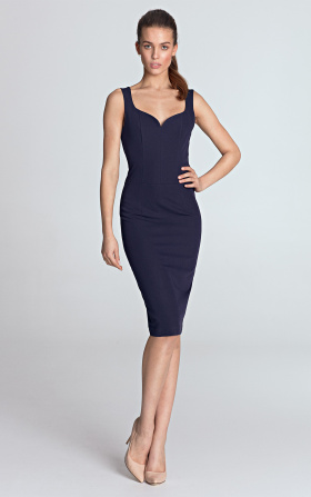 Dress with a neckline in the shape of heart - violet