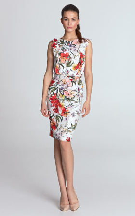 Pencil dress with frills at the front - flowers / ecru