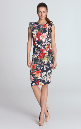 Pencil dress with flounces - flowers/navy