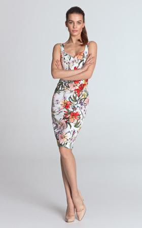Sukienka z dekoltem w kształcie serca - kwiaty/ecru