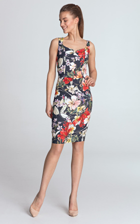 Dress with heart-shaped neckline - flowers/navy blue