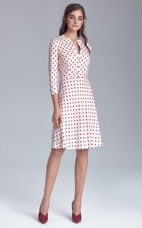 Sukienka zapinana na napy - krem/grochy
