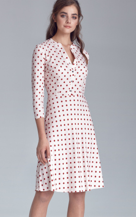 Fastened dress - cream/peas