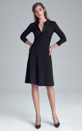 Sukienka zapinana na napy - czarny
