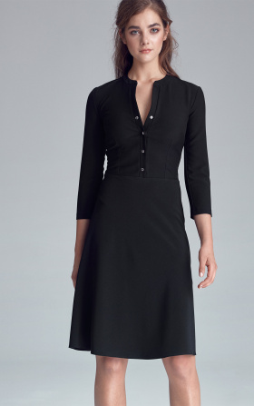 Dress fastened with naps - black