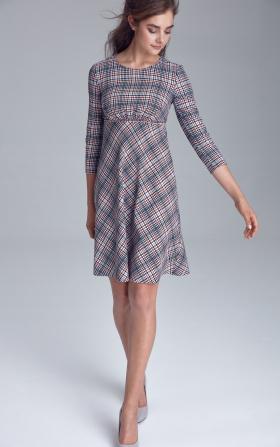 Sukienka odcięta pod linią biustu - krata/pepitko