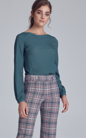 Blouse with puffy sleeves - green