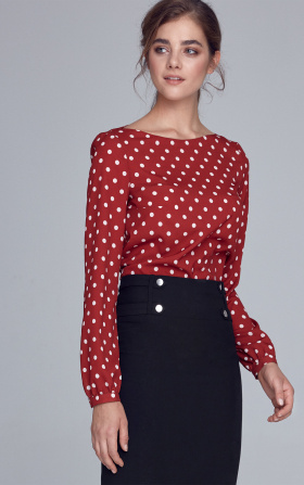 Blouse with puffy sleeves - claret/peas