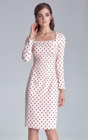 Sukienka w grochy z dekoltem karo