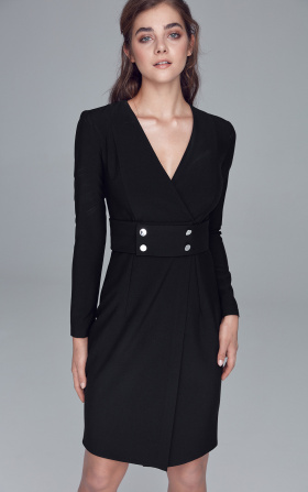 Dress with fastener decorated belt - black