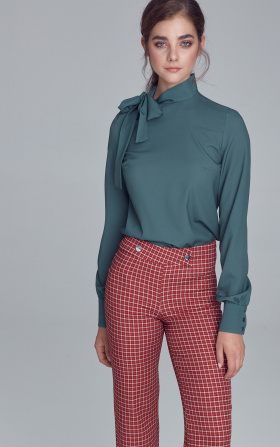 Blouse with side tie - green