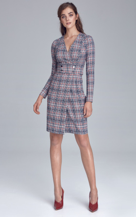 Dress with naps decorated belt - checkered/pepito